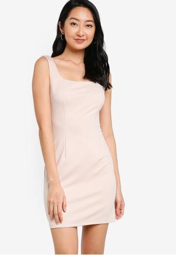 ZALORA BASICS beige Square Neck Bodycon Dress 702CFAA08A7D54GS_1