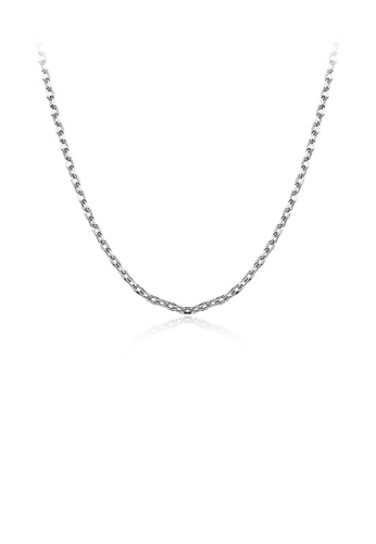 Glamorousky silver Simple and Fashion Plated Platinum Square Necklace 91861AC24A117CGS_1