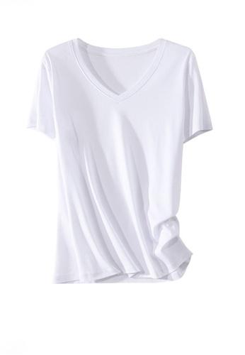 Twenty Eight Shoes white VANSA V-neck Mercerized Cotton Short-sleeved T-Shirt VCW-Ts1902V C15D0AAAA2C4E6GS_1