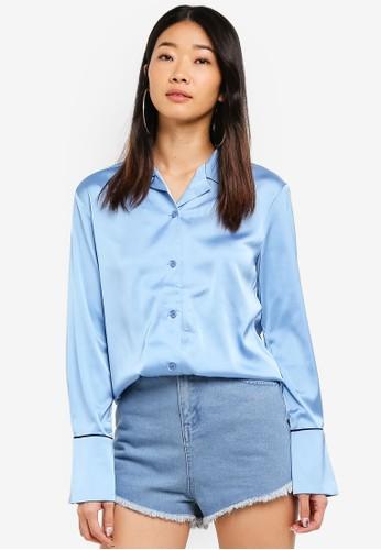 NAIN blue Bell Cuff Satin Blouse 8E627AA75CC897GS_1