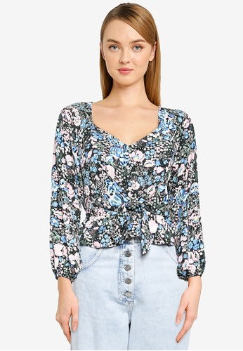 Miss Selfridge blue and multi Petite Blue Floral Sleeves Detail Blouse F30CBAAEBC29A2GS_1