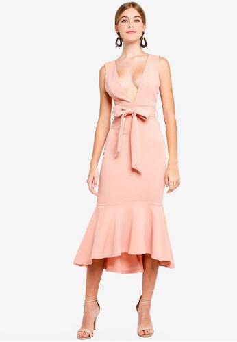 INDIKAH pink Plunge Neck Mermaid Hem Midi Dress 78D56AA0063F8CGS_1