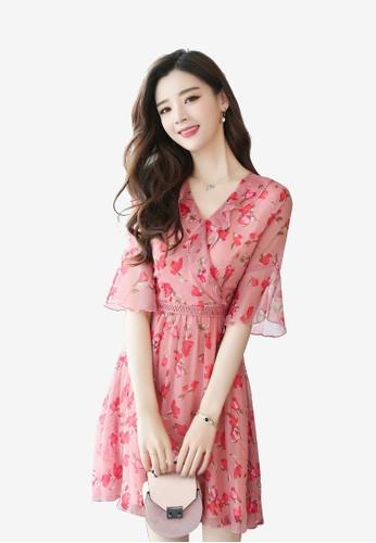 hk-ehunter multi Flare Sleeves Printed A-line Dress CA59DAADDC889FGS_1