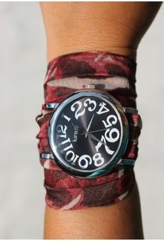 Lured Red Cheetah Print Scarf Watch