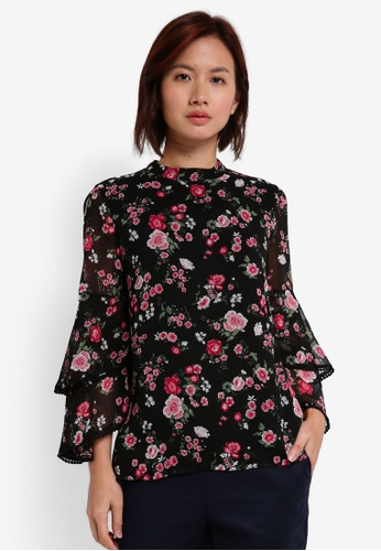 WAREHOUSE black and multi Blossom Garden Top ABC34AA7FF0D21GS_1