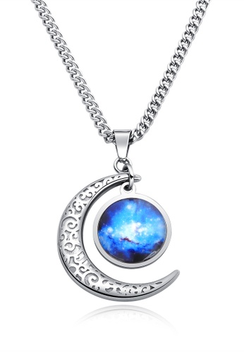 Trendyshop blue and silver Star Moon Pendant Necklace FE2AAACBD5315BGS_1