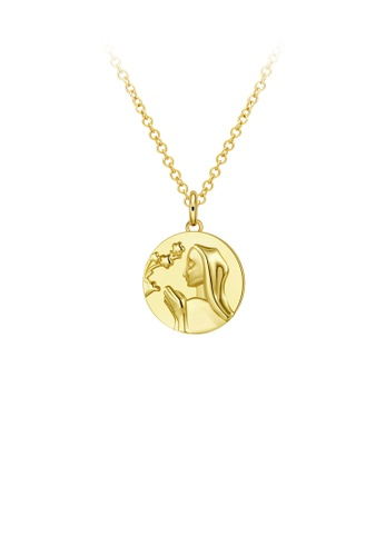 Glamorousky silver Fashion Simple Plated Gold Round Figure Figure Pendant with Necklace D2911AC832A7F1GS_1