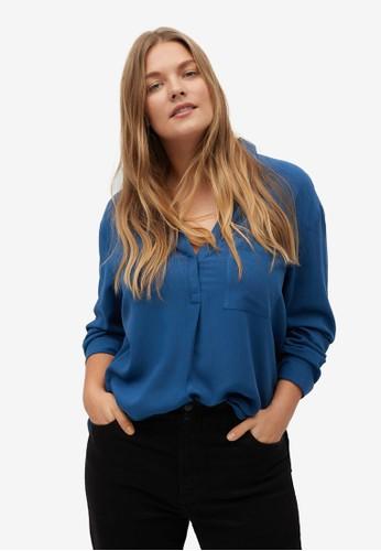 Violeta by MANGO blue Plus Size Double Shirt-Collar Blouse 60ACBAA0DBEC0FGS_1