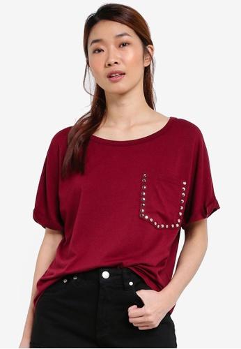 Something Borrowed red Studded Pocket Tee E85E7AA52F00E3GS_1