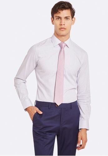 Oxford white and blue Beckton Self Spot Shirt A9105AADFA9DFFGS_1