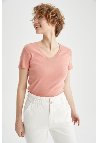 DeFacto pink Short Sleeve V-Neck T-Shirt BE4D2AAD5595AAGS_1