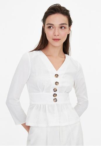 Pomelo white Tortoise Button Peplum Blouse - White 12CC0AA93EAAEFGS_1