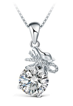 T400 Sterling Silver Jewelry White And 925 Round Pendant Zirconia Necklace T4166ac32vdvph 1