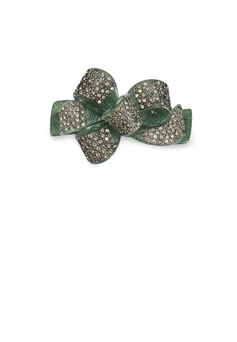 Glamorousky green Fashion Bright Green Ribbon Hair Slide with Cubic Zirconia 6E055ACFB71C21GS_1