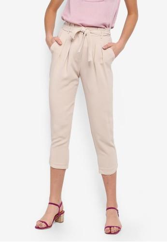 FORCAST beige Raven Tie Waist Trousers 8B9D4AAAA95804GS_1