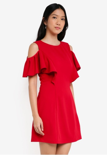 ZALORA red Cold Shoulder Shift Dress A86E8AA2171293GS_1