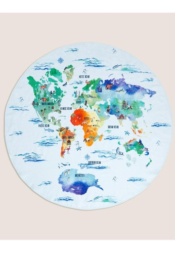 MARKS & SPENCER blue M&S Pure Cotton Map of the World Round Bath Towel 1ED3CHLA34730FGS_1