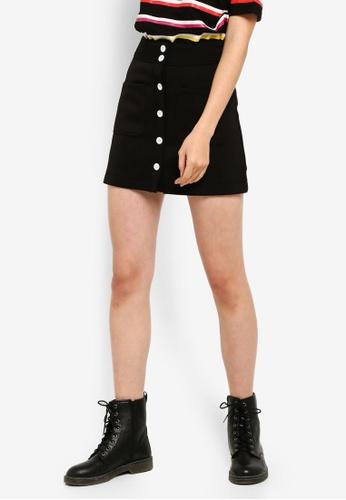 Something Borrowed 黑色 鈕釦短裙 A8C50AA92DD41AGS_1