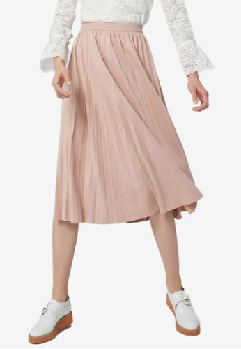 Hopeshow pink Pleated Midi Skirt CEBADAA247FA69GS_1