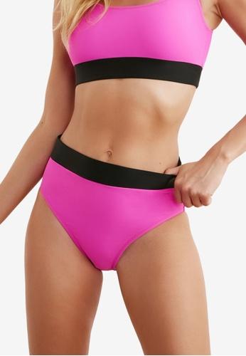 Trendyol pink Contrast Panel Bikini Bottom E576BUSE466724GS_1
