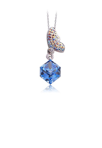 Glamorousky blue Lovely Butterfly's Gift with Pendant with Silver and Blue Austrian Element Crystals 59E6AAC42B0A74GS_1