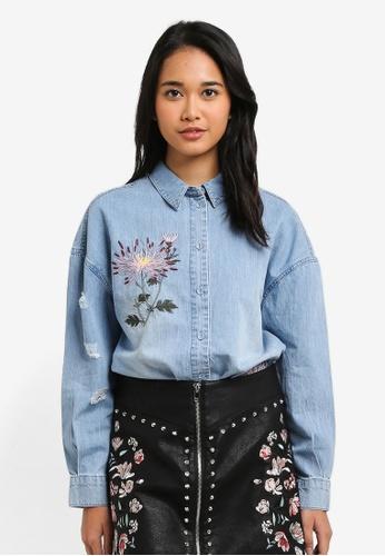 ONLY blue Flora Oversize Embroidery Denim Shirt 097A2AAD08474DGS_1