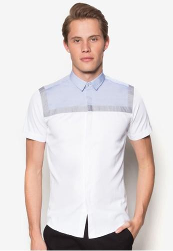 撞色拼接短袖襯衫, 服飾esprit女裝, 素色襯衫
