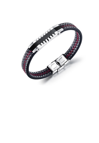 Glamorousky silver Fashion and Simple Geometric 316L Stainless Steel Leather Bracelet 8B927AC9C920EBGS_1