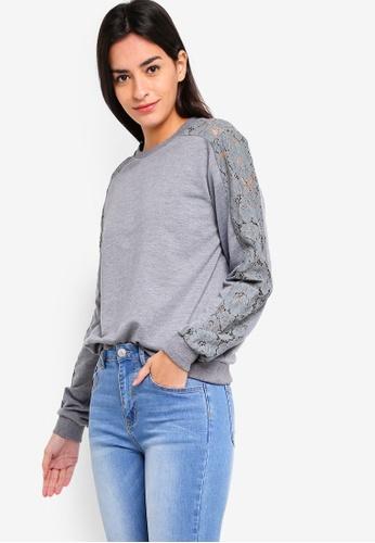 ZALORA grey Lace Panel Sweatshirt A3334AA2930584GS_1