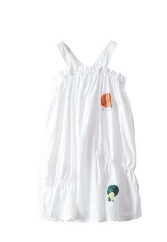 M.Latin white Suspender Dress with Printed Design DDC3FKAEF1B4B4GS_1