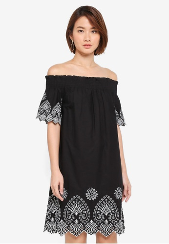WAREHOUSE black Broderie Bardot Dress 5B947AA29618EDGS_1
