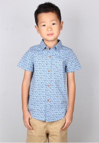 Mini Moley blue Rose Print Motif Boy's Short Sleeve Shirt E8F81KAD24DF59GS_1