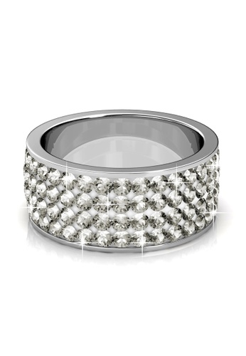 Her Jewellery silver Swarovski® Crystals - Roller Ring (White)(18K White Gold Plated) Her Jewellery HE581AC0RAJZMY_1