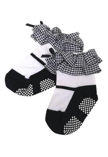 Lowela black and white Black Gingham Ruffle Socks CE628KA1263158GS_1