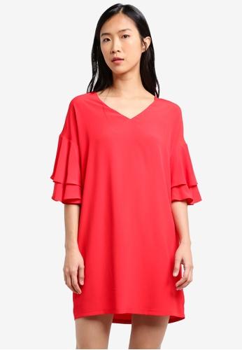 ZALORA red Double Ruffle Sleeve Dress 3A1EEAA3AC877EGS_1