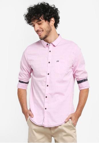 Fidelio pink Micro Collar Dobby Slim Fit Long Sleeves Shirt F77ECAAF638539GS_1