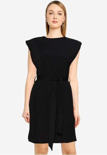 MISSGUIDED black Shoulder Pad Rib Belted Mini Dress 40A1AAA0AA0A43GS_1