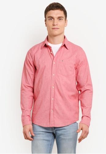 Hollister red Long Sleeve Poplin Shirt HO422AA0SBOZMY_1