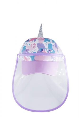 wigglo purple Wigglo Sweet Purple Unicorn Cap With Face Shield E9DB6KC7DBD0D1GS_1