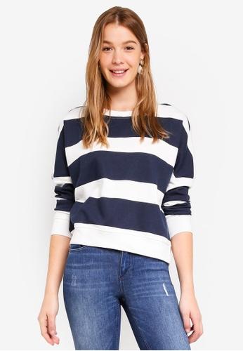 ONLY navy Kamma Plain Batwing Sweatshirt DE42CAA774BFA6GS_1