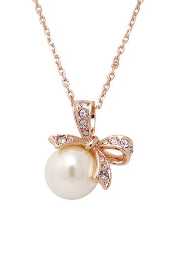 Jaysa Collection gold Rose Gold Ribbon Pearl Necklace JA875AC0F9MKSG_1