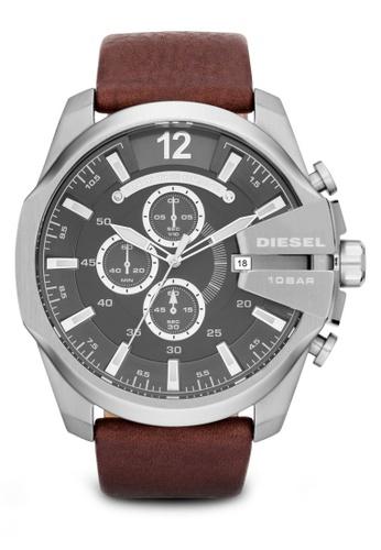 Diesel brown Diesel Mega Chief Dark Brown Leather Watch DZ4290 DI095AC89NKWMY_1