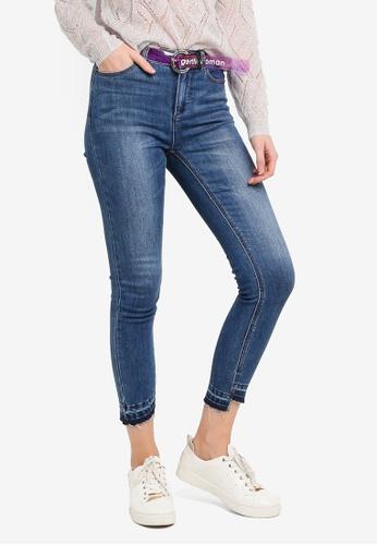 Hopeshow blue Asymmetrical Cuff Cropped Jeans 4E73CAA129E027GS_1