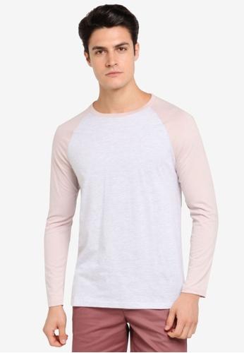 Burton Menswear London pink Pink And Frost Grey Long Sleeve Raglan T-Shirt BU964AA0T1HUMY_1