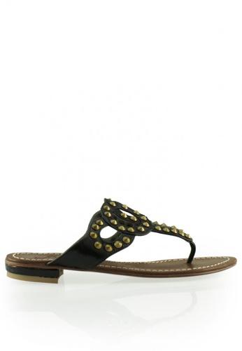 Gripz black and brown Headon Boho Slipon Thong Sandals GR357SH0FSTNSG_1