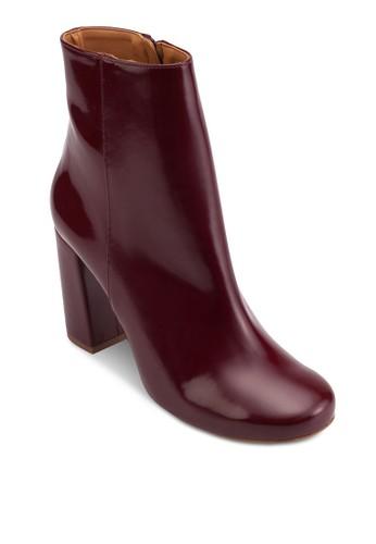 漆皮粗跟esprit手錶專櫃高跟短靴, 女鞋, 鞋