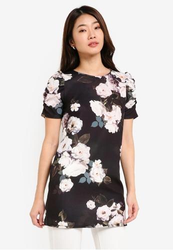 Dorothy Perkins black Floral Print Tunic DO816AA0RJPGMY_1