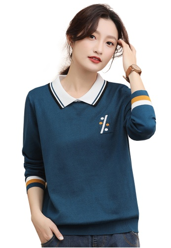 A-IN GIRLS navy Simple Doll Collar Color-Block Sweater 19B7FAA272CF5DGS_1