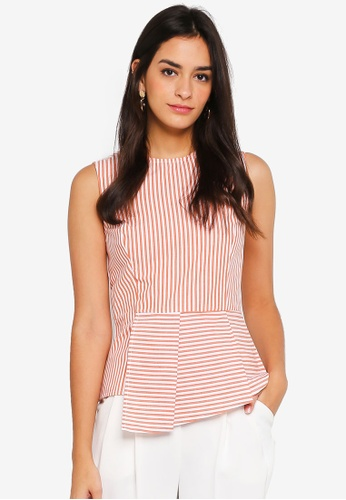 WAREHOUSE orange Stripe Pleat Peplum Top 7F990AA11697D0GS_1