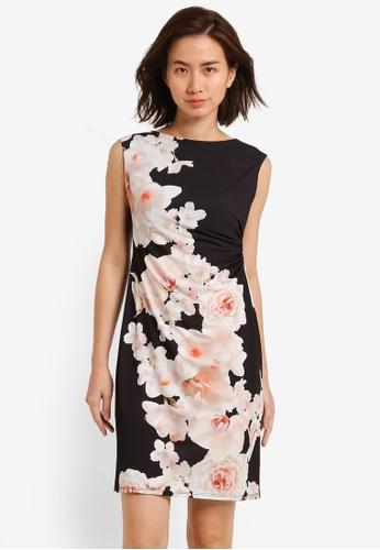 Wallis black Petite Black Floral Print Pencil Dress WA800AA0RM71MY_1